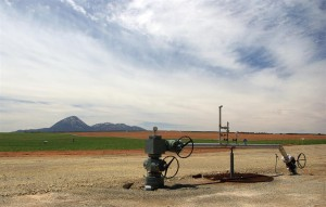 CO2 wellhead. - Carbon Dioxide is a green energy source used to extract additional oil from fields